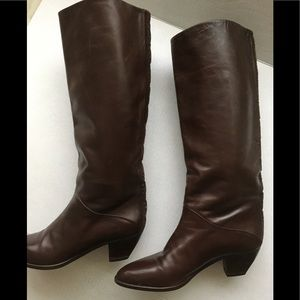 Tall boots soft Italian brown leather sz 8.5-9